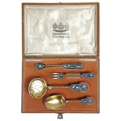 Late 19th Century Russian Silver Gilt and Champlevé Enamel Tea Serving Set