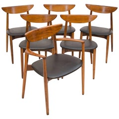 Set of Six Danish Walnut Dining Chairs, Harry Ostergaard, Moreddi