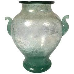 Murano Green Scavo Glass Neoclassical Vase