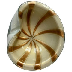 Murano Candy Nut Dish with Gold Variegated Bands