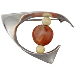 Ronald Hayes Pearson Sterling and Carnelian Brooch