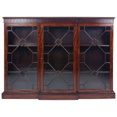 Victorian Figured Mahogany Breakfront Astragal Glazed Three Door Bookcase