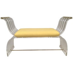 Hollywood Regency Lucite Bench in the Manner of Charles Hollis Jones