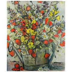 Simone Duval-Wenta Oil on Canvas Still life Watering Can with Bouquet