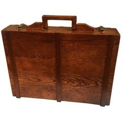Wooden Folkart Attache Briefcase Art Case