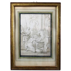 Ciro Ferri Drawing Offering Scene Italie 17th Century