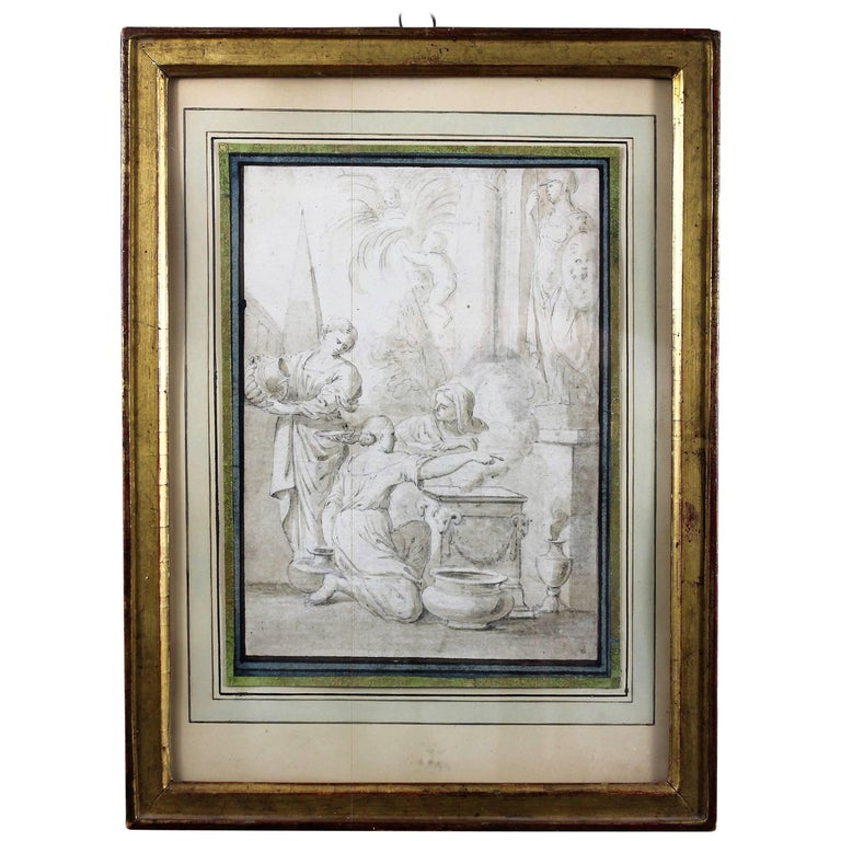 Ciro Ferri Drawing Offering Scene Italie 17th Century For Sale