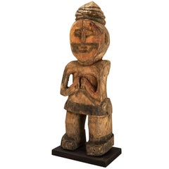 Wooden Tribal Statue from West Nepal Shaman Figure Mid-20th Century Wood Base