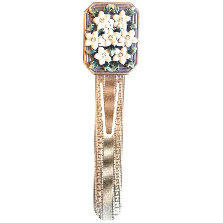 Enamel and Brass Bookmark with Semi Precious Stones For Sale