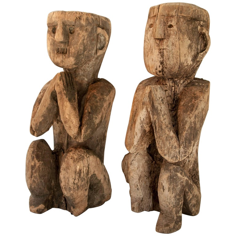 Pair of Wooden Tribal Statues from West Nepal, Ancestor Couple, Mid-20th Century