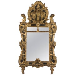 18th Century French Régence Carved Giltwood Mirror