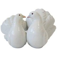 White Porcelain 'Couple of Doves' Birds Sculpture by Antonio Ballester