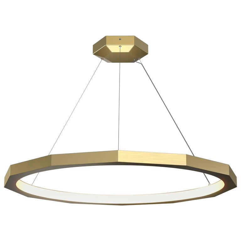 Dodeca 46 Brushed Brass Chandelier by Matthew McCormick Studio For Sale