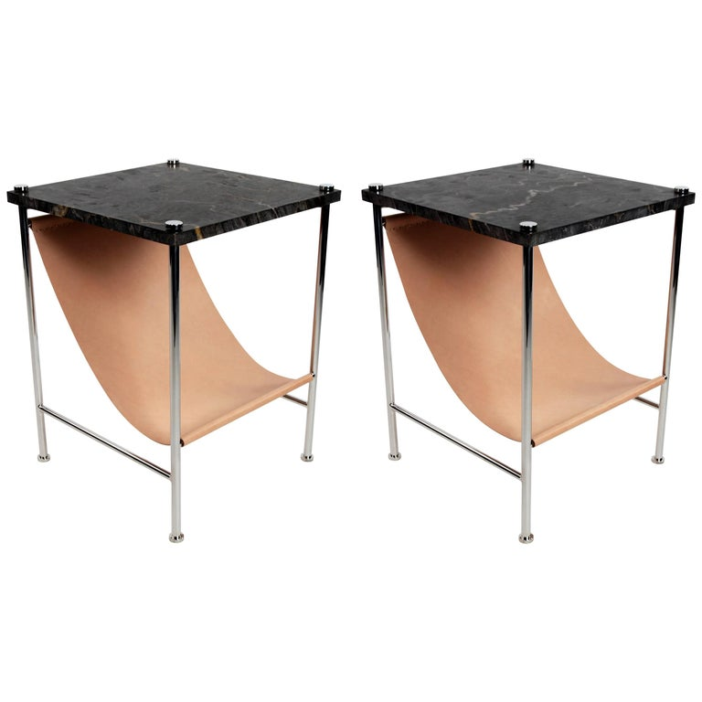 Leather Sling Side Table in Stainless Steel, Black Marble and Tan Leather