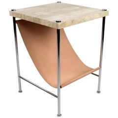 Leather Sling Side Table in stainless steel, travertine and natural leather