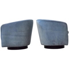 Pair of Milo Baughman Swivel and Tilt Lounge Chairs