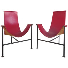 Sculptural Pair of Red Leather Sling Chairs in the Manner of William Katavolos
