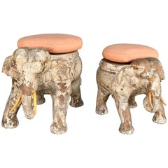 Pair of Antiqued Solid Wood Elephant Stools from the Sinatra Estate