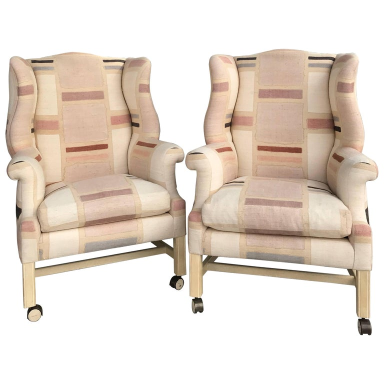 Pair Custom Hand Painted Raw Silk Vintage Modern Wing Back Chairs For Sale