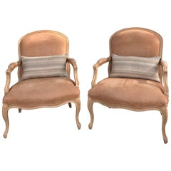 Pair of Kreiss Blush Faux Pigskin Bergere Chairs