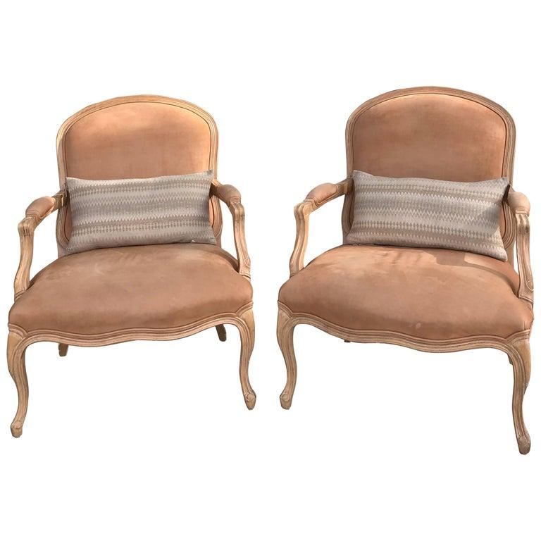 Pair of Kreiss Blush Faux Pigskin Bergere Chairs