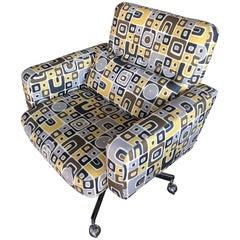 Vintage Modern Pop Art Print, Desk Chair Chrome Base/Casters from Steve Chase