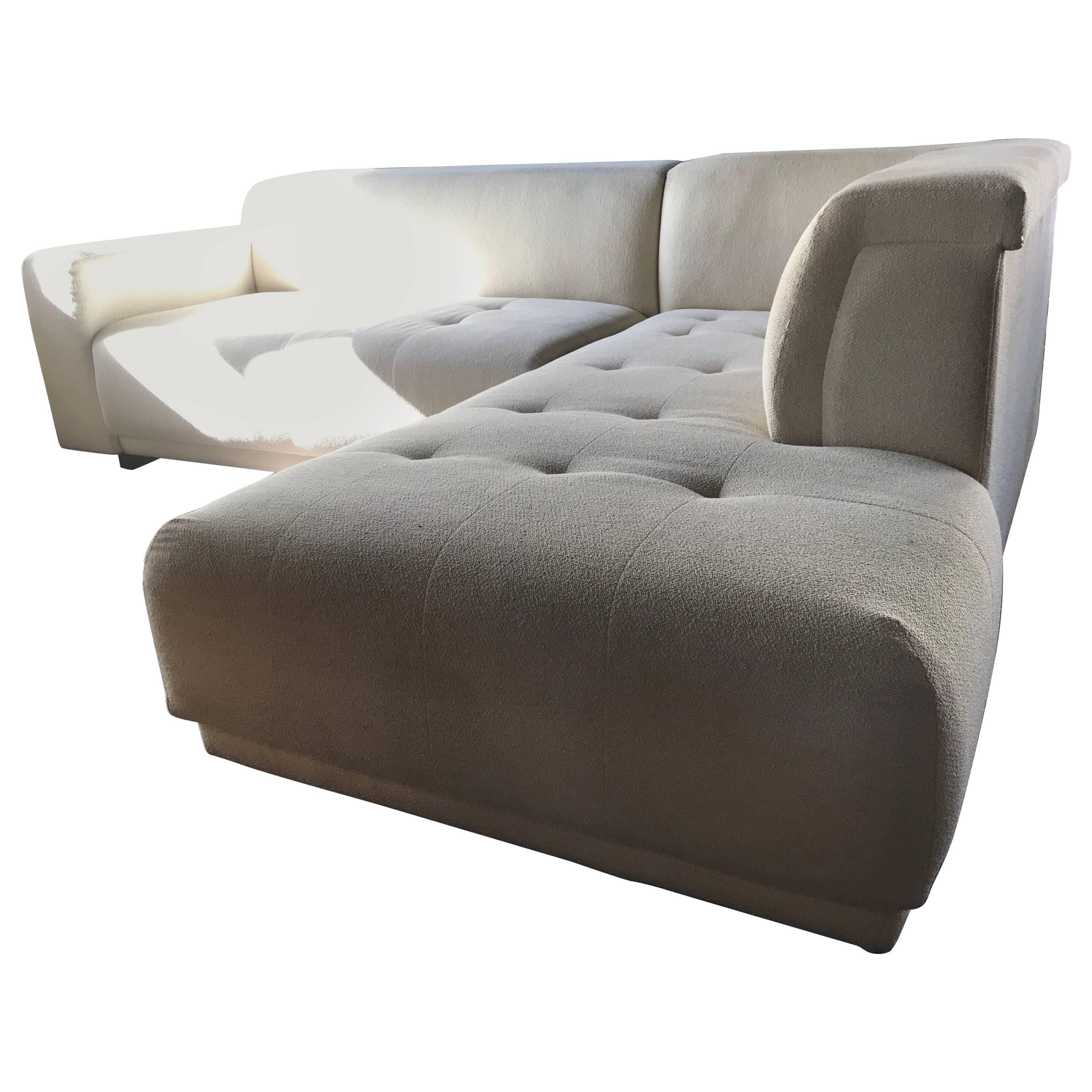 Vintage Modern Two Piece Creme Sectional Lazar Sofa For Sale