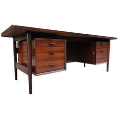 Splendid Danish Modern Rosewood Executive Desk Designed by Arne Vodder