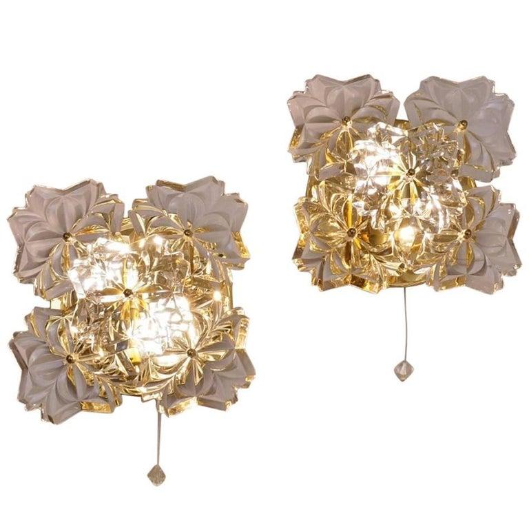Gold Floral Sconces, Crystal Flowers, Solken Lighting, circa 1970s, German For Sale