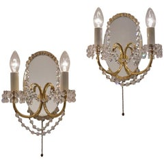 Maison Jansen Sconces Crystal Beads, Brass and Mirror, French, circa 1940s