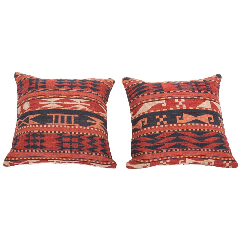 Antique Pillow Cases Made from a Late 19th Century Uzbek Gudjeri Kilim For Sale
