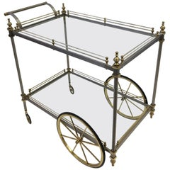 Italian Stainless Steel and Brass Bar Cart by Maison Jansen