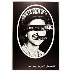 Original Iconic Punk Rock Music Poster For The Sex Pistols - God Save The Queen