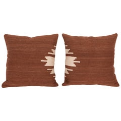 Mid-20th Century Pillow Cases Fashioned from a Angora Siirt Blanket