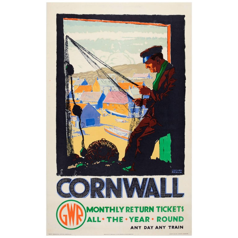 Original Vintage GWR Great Western Railway Travel Poster for Cornwall by Train For Sale