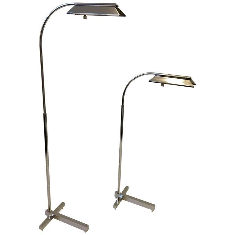 Pair of Nickel Adjustable Floor Lamps by Casella
