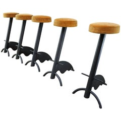 Set of Five Iron and Fabric Bar Stools, circa 1970