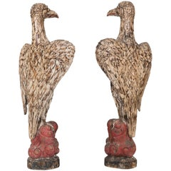 Spectacular Pair of 1920s Carved Polychromed Eagles Sculptures