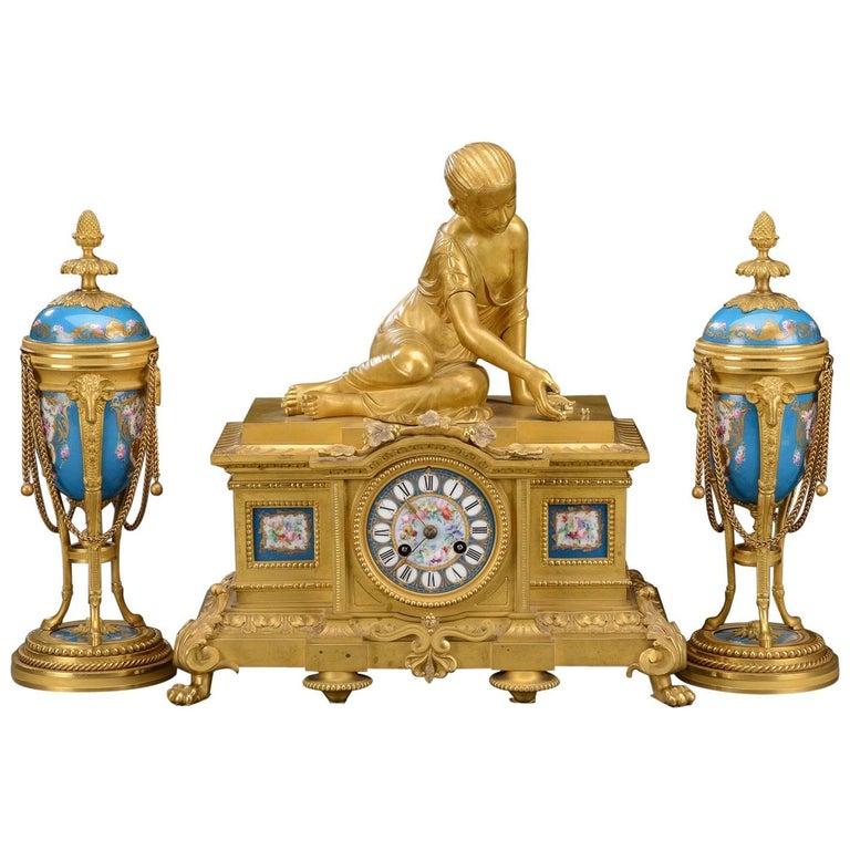 Mantel Clock Set, Gilt Bronze and Porcelain, Louis XVI Style