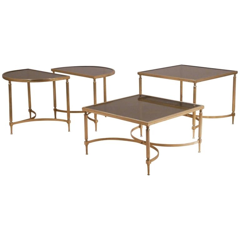 Four Maison Jansen Hollywood Regency Style Full Brass and Glass Cocktail Tables
