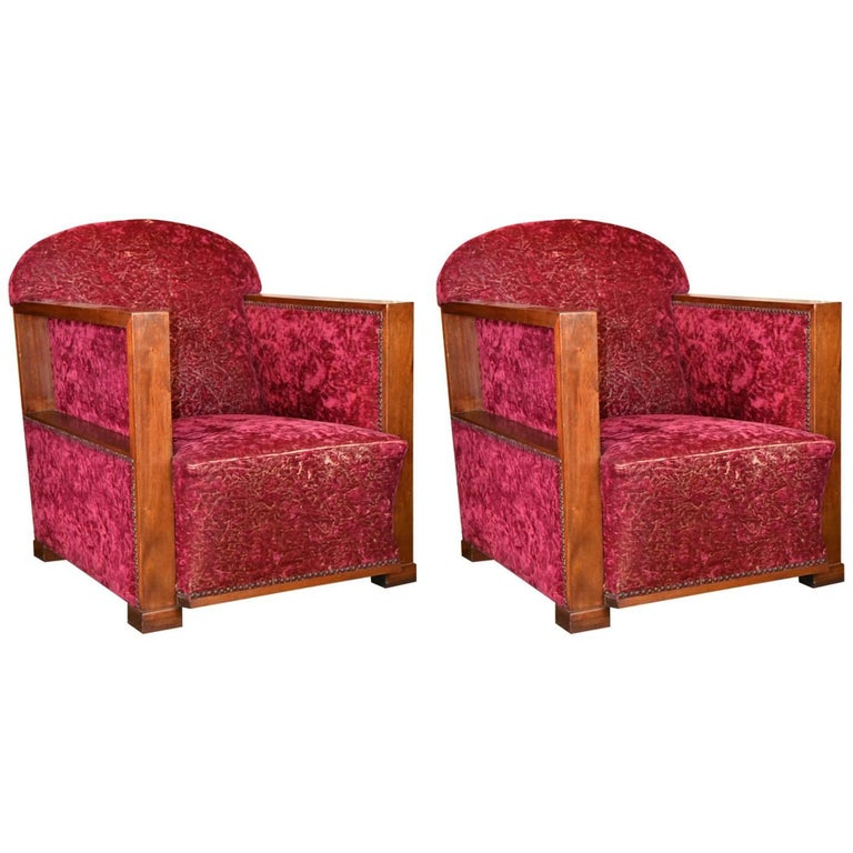Art Deco Club Chairs, circa 1930, France