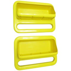 Set of Two French Yellow Plastic Shelves by Jean Garçon and Formag
