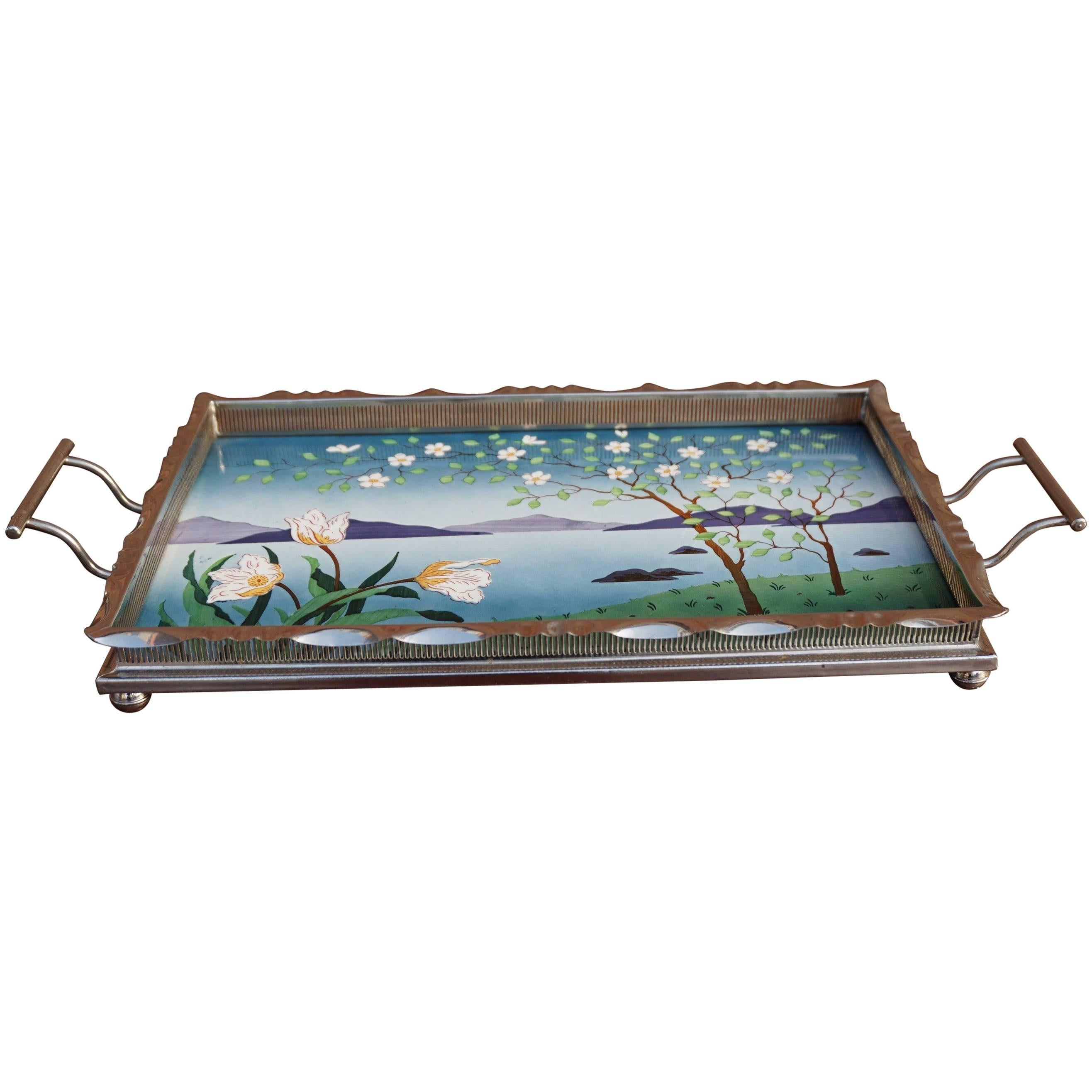 Arts and Crafts Small Tile Serving Tray with Hand Painted Decor, Chrome Borders