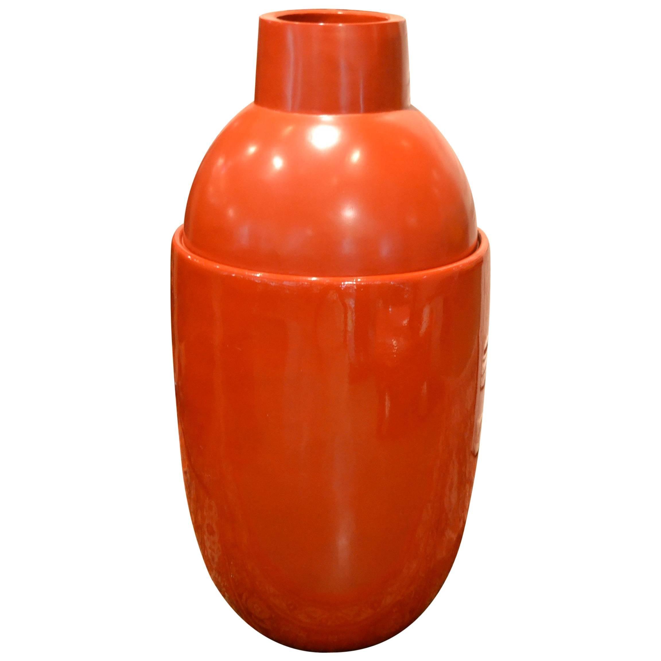 Large Modern Red Fiberglass Floor Vase By Edward Van Vliet