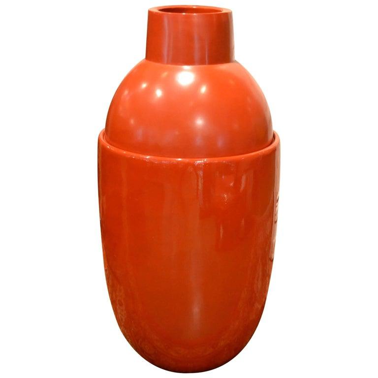 Large Modern Red Fiberglass Floor Vase By Edward Van Vliet For Sale