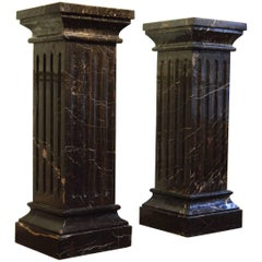 Large Pair of  19th Century Black Marble Pedestals  Black Marble Columns
