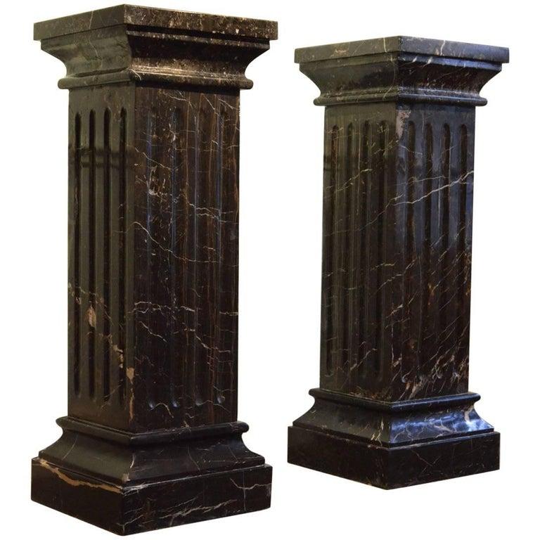 Large Pair of  19th Century Black Marble Pedestals  Black Columns