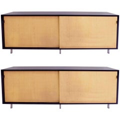 Florence Knoll, Pair of Elegant Sideboards with Sliding Cane Doors