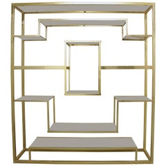 Brass and Glass Shelf by Romeo Rega
