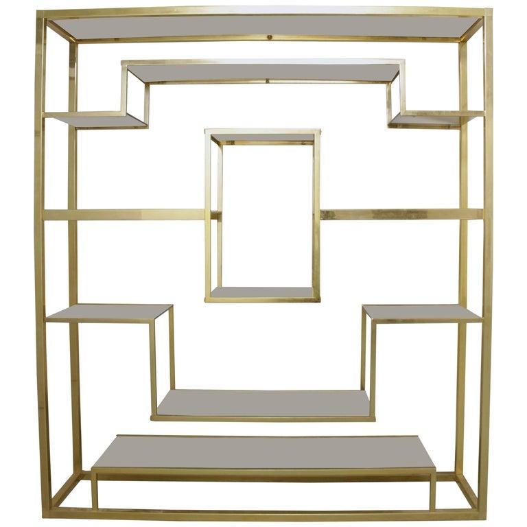 Brass and Glass Shelf by Romeo Rega